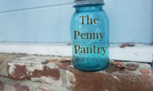 "Blue mason jar that says ""The Penny Pantry"""