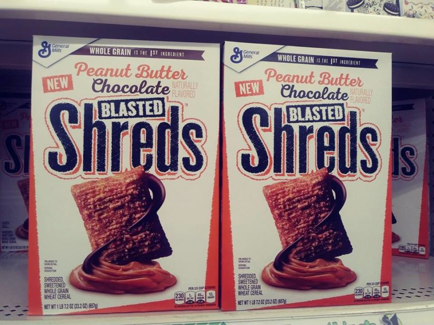 Blasted Shreds cereal boxes