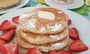 Homemade Vegan Pancake Stack with strawberries