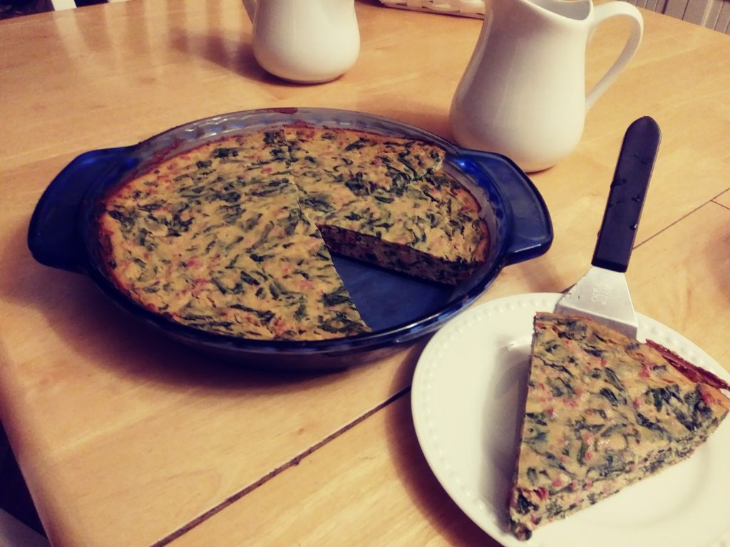tofu spinach quiche with slice out
