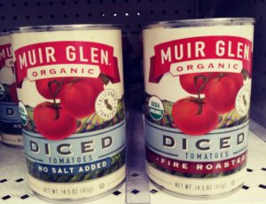 Cans of Muir Glen tomatoes