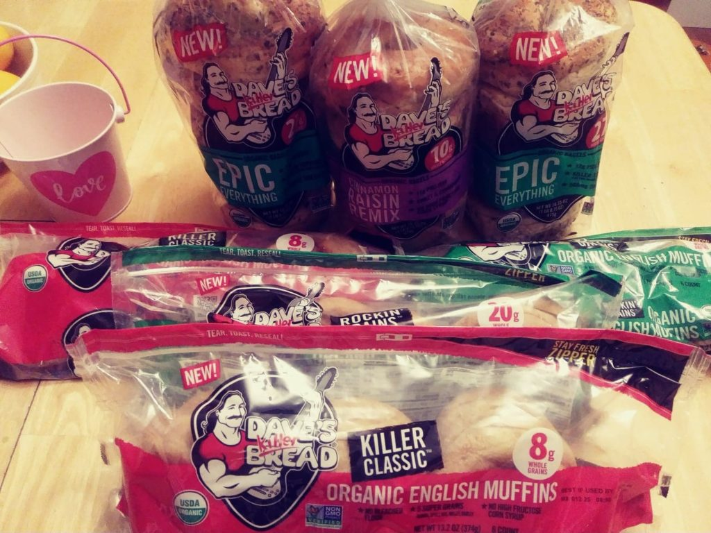 Dave's Killer Bread packs of English Muffins and bagels, assorted