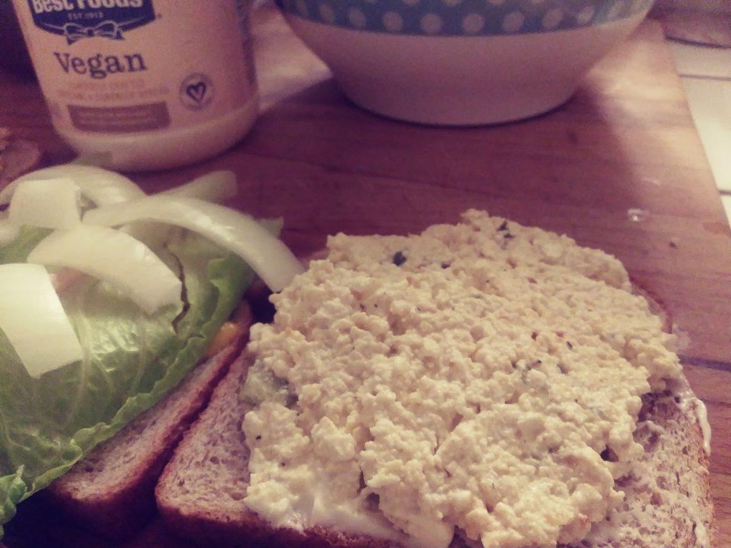 Tofu Egg open sandwich