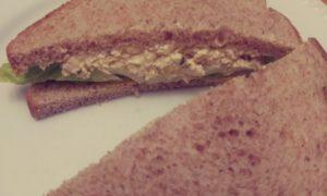 Tofu egg sandwich cut in half