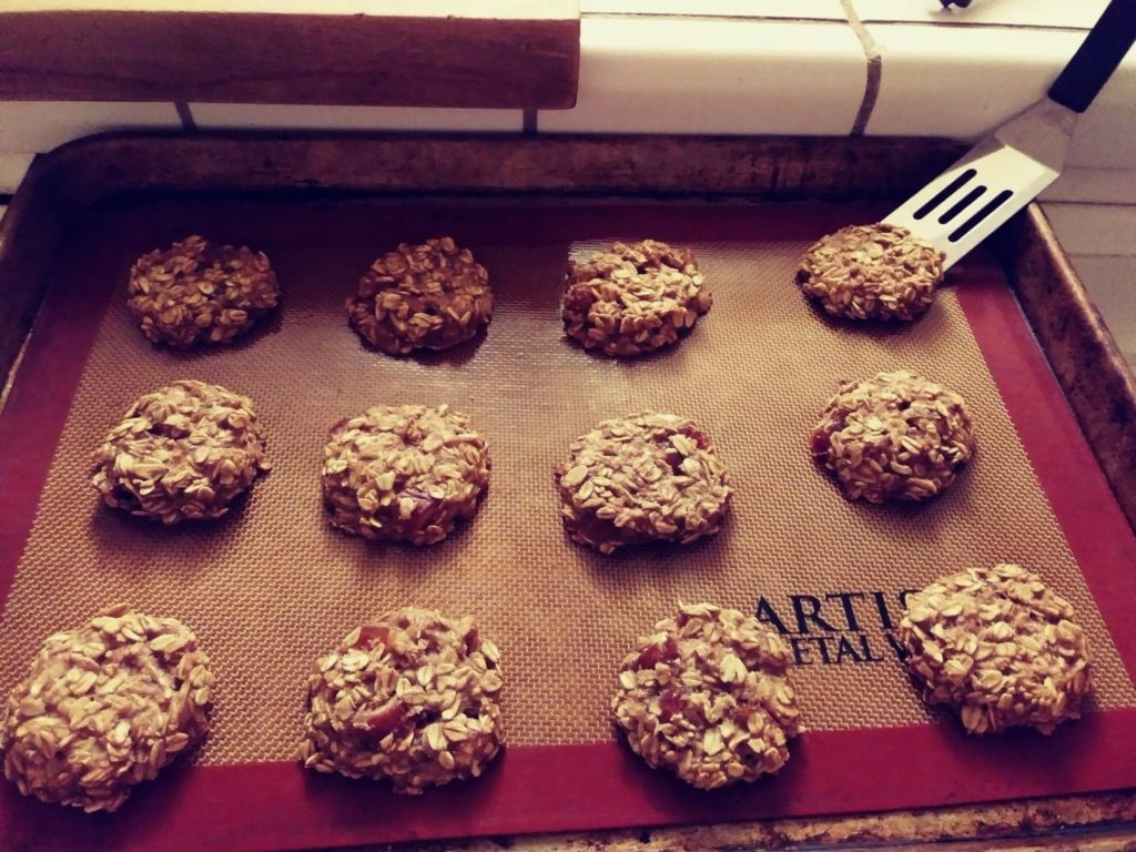 Homemade Banana Oat Applesauce Cookies on a Cookie Tray
