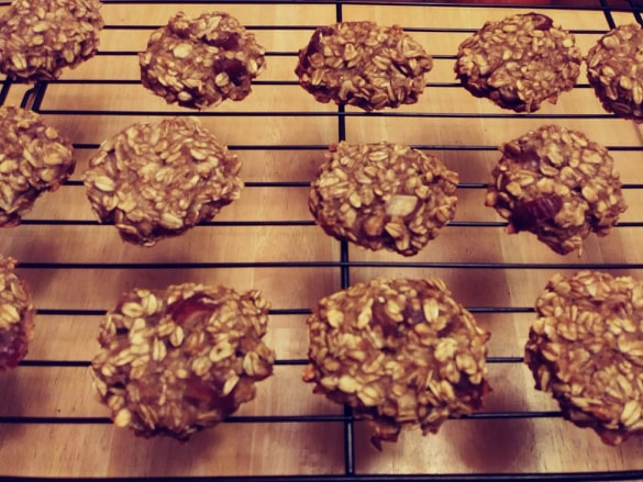 banana oat cookies on rack