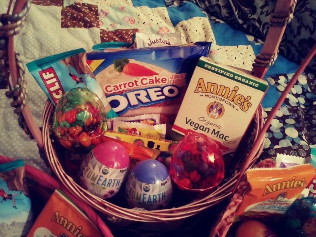 basket I made with vegan Easter treats