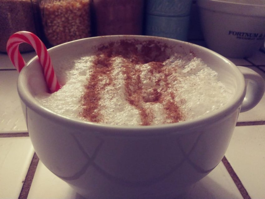 latte with candy cane