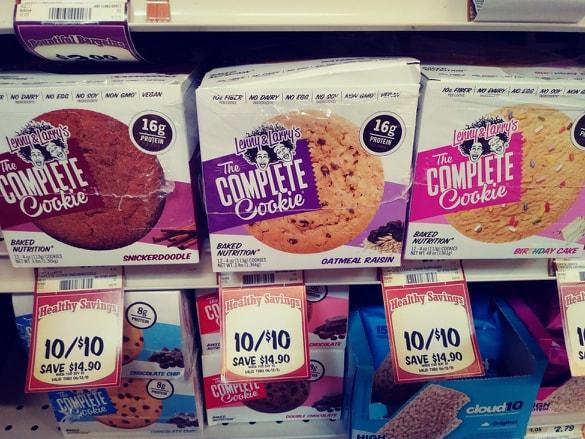Lenny & Larry's Cookies on a shelf asst. flavors
