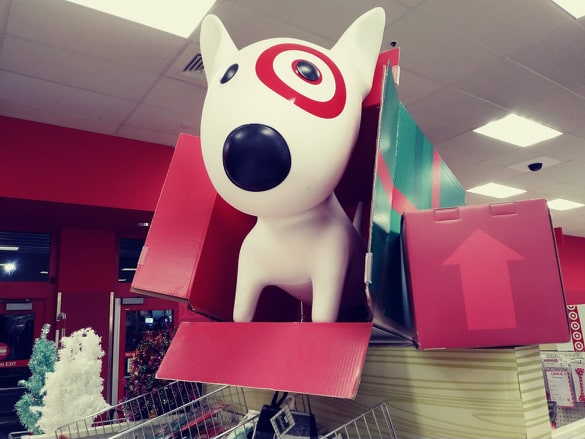 Target large dog display inside a wrapped Christmas box