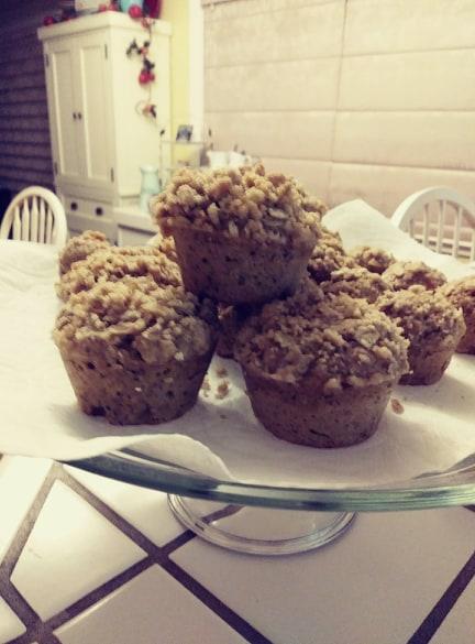 Banana Streusel Muffins on a cake pedestal