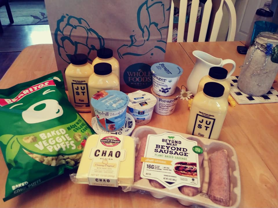 Whole Foods groceries includes Just Egg bottles, Kite Hill yogurt, Chao cheese, Beyond Sausage large links and Bearitos puffs