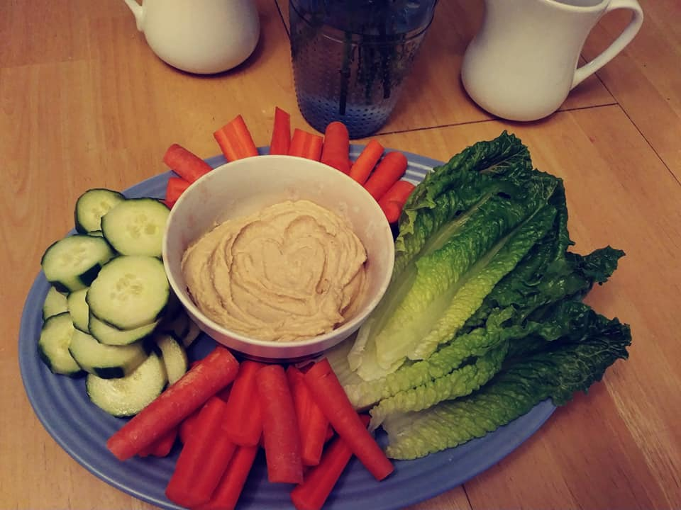 Homemade Hummus Platter with veggies