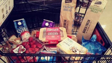Grocery Cart Filled with Vegan Groceries at Safeway