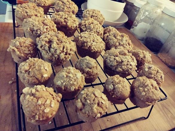 Banana Streusel vegan muffins cooling on rack