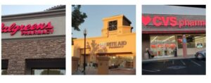 Collage of Walgreen's, Rite Aid & CVS storefronts