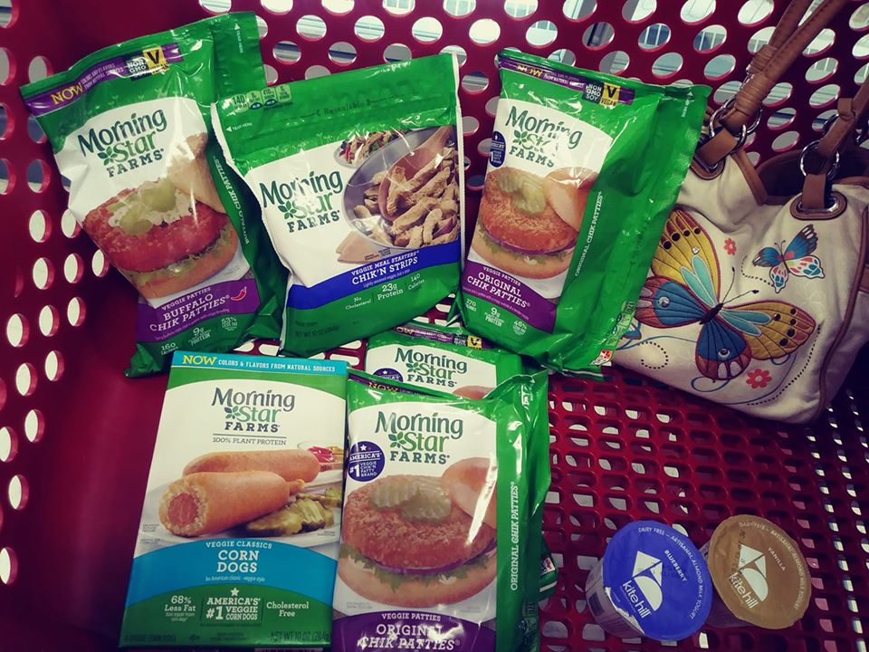 Morningstar Farms assorted packs in grocery cart