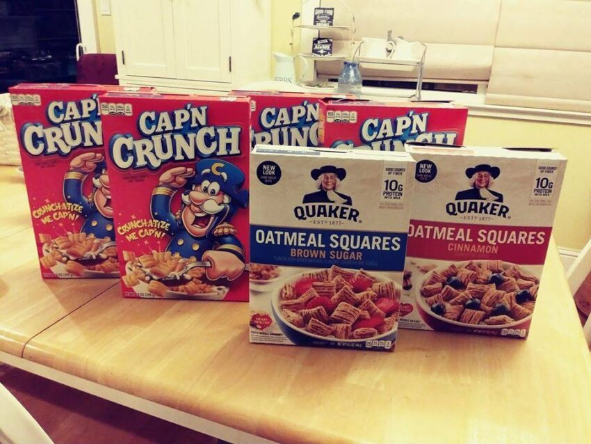 Boxes of Cap'n Crunch and Oatmeal Squares Cereal