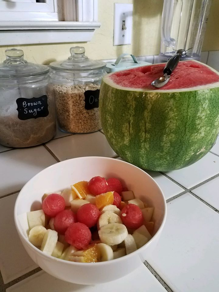 cut melon and fruit salad