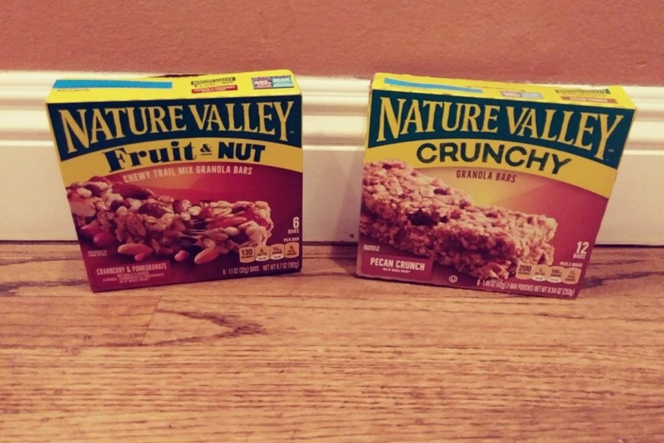 Nature Valley bars, fruit and nut and crunchy boxes