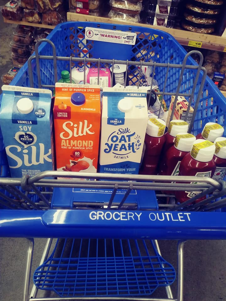 Grocery Outlet Cart with Silk Milks and Heinz catsup