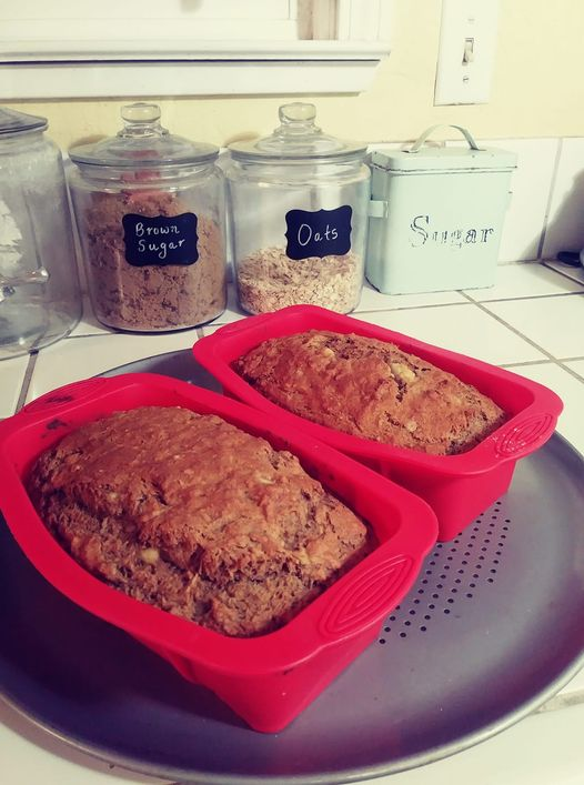 2 loaves of banana bread in silicone pans