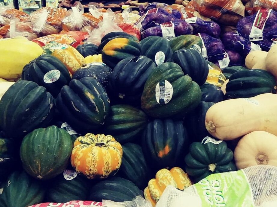 Winter squashes, pile of assorted