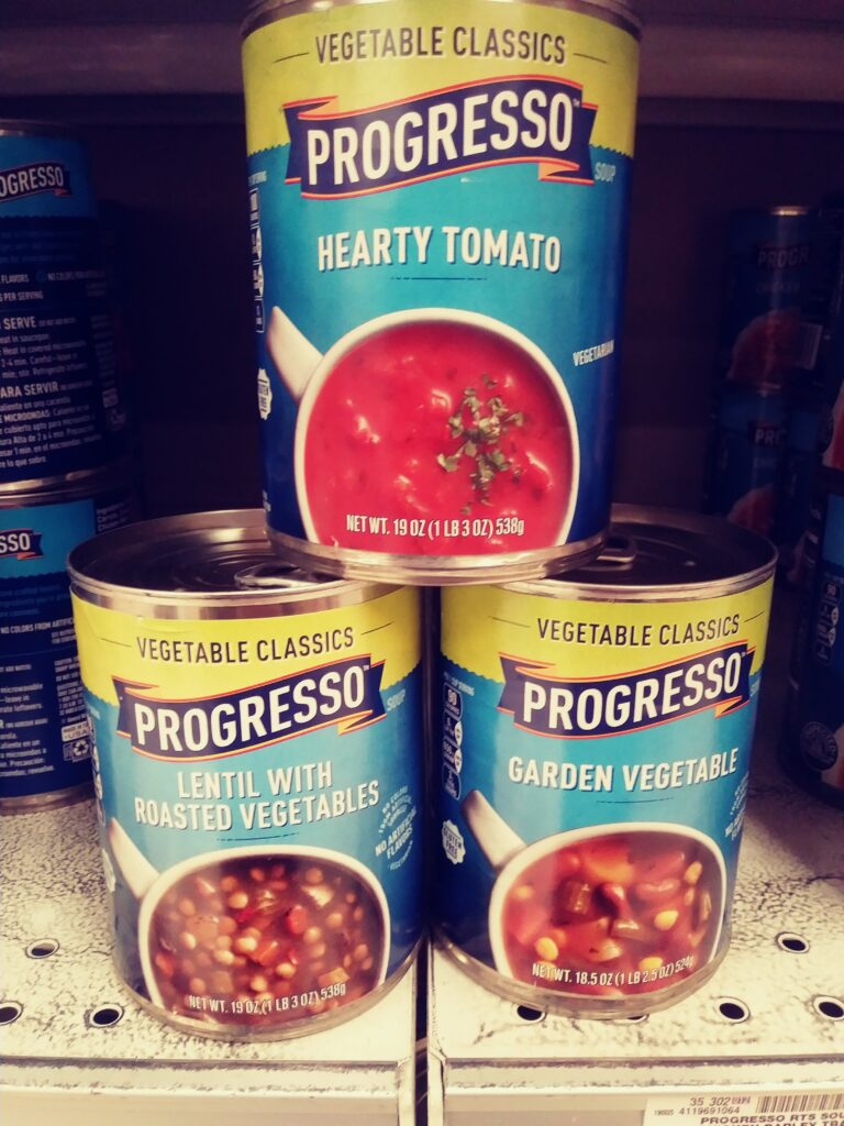 Progresso Soup 3 cans on store shelf