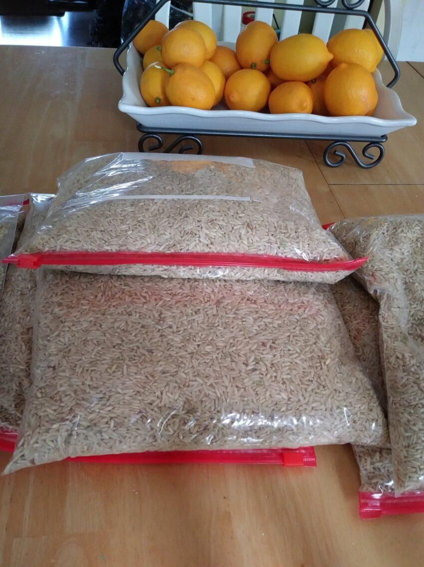 Rice in ziploc bags