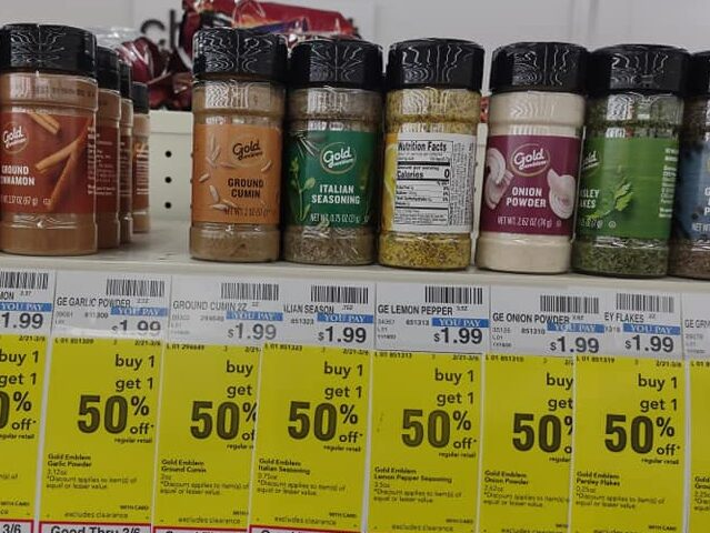 CVS BOGO 50% off Spices on store shelf