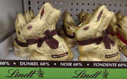 Vegan Dark Chocolate Lindt Bunnies on a store shelf