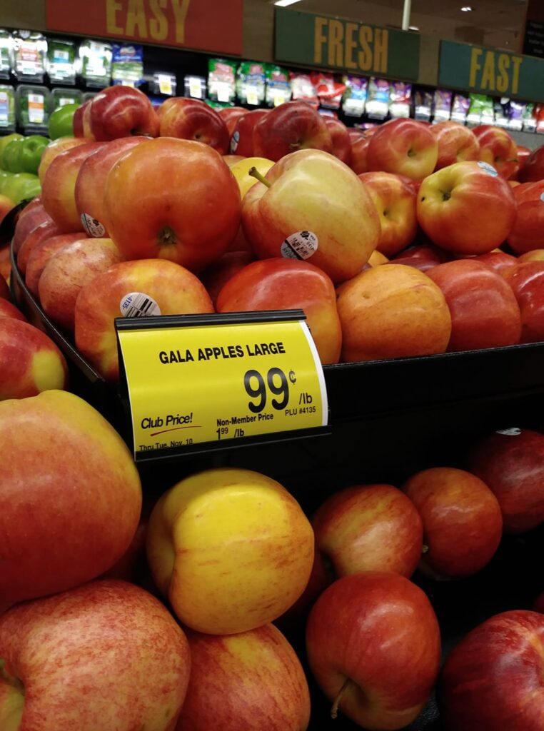 Gala apples marked $.99/lb.