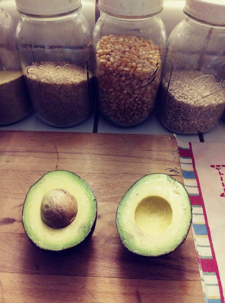 Avocado cut open halves
