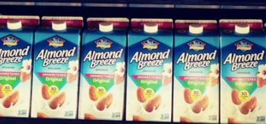 Blue Diamond Almond Milk cartons in a row