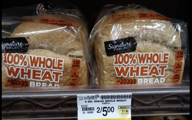 Safeway Whole Wheat Sandwich Bread