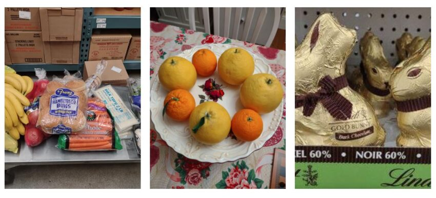 Collage with grapefruits and oranges, Lindt chocolate bunny, and cart with groceries at US Foods Chef'Store