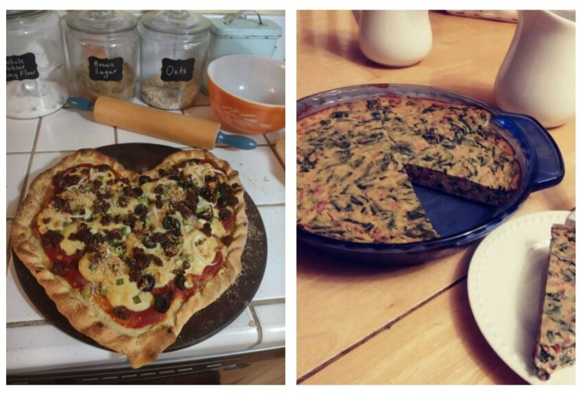 collage heart pizza and tofu spinach quiche
