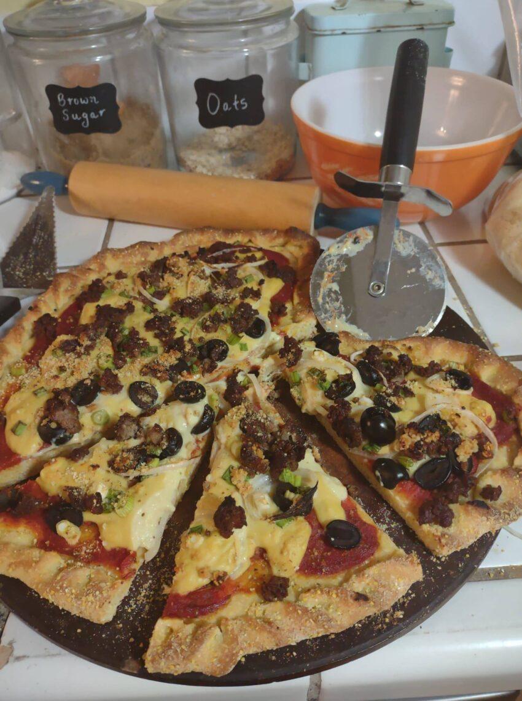 sliced heart pizza