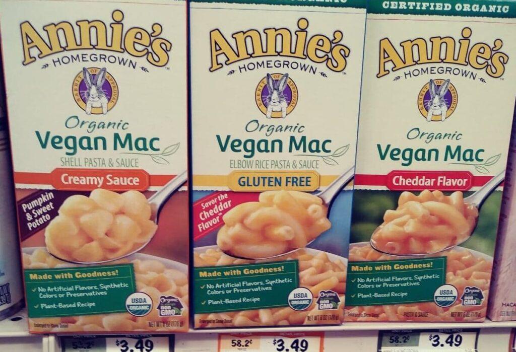 Annie's Vegan Mac three flavors on store shelf