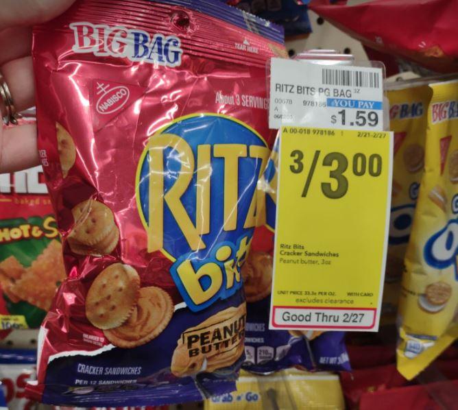 Ritz Bits 3 for $3 at CVS