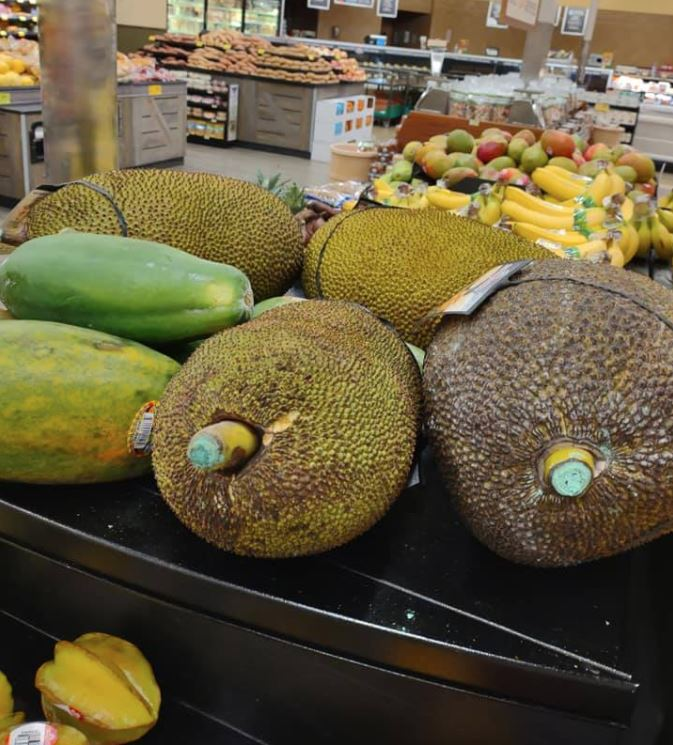 Large whole jackfruits