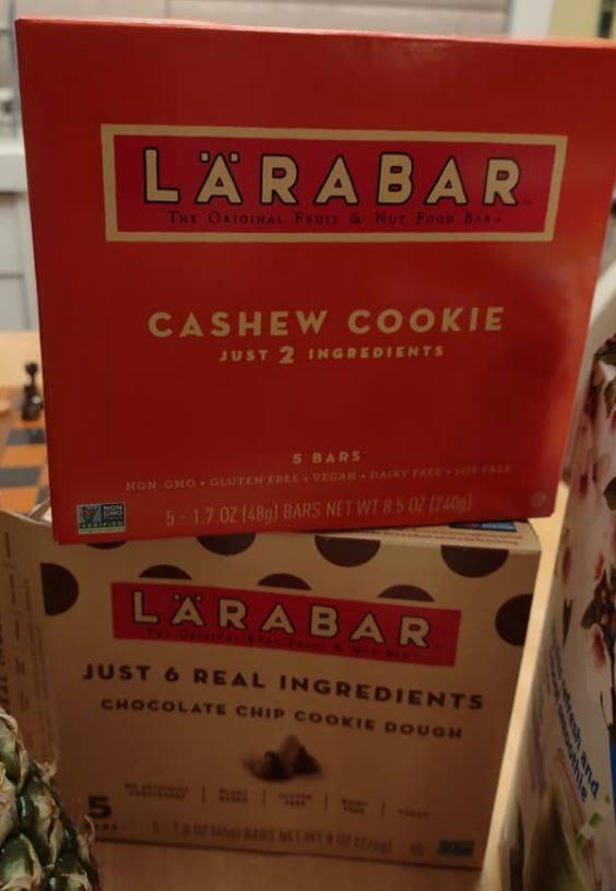 Larabar mulitpacks, cashew cookie and chocolate chip