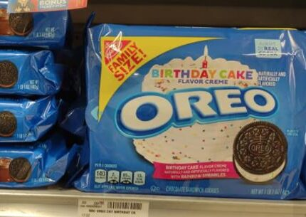 Oreos Birthday Cake flavor and other assorted family sized ones on shelf