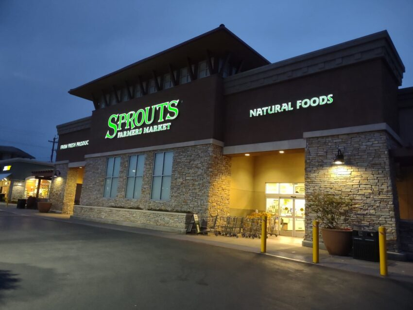 Sprouts storefront at night