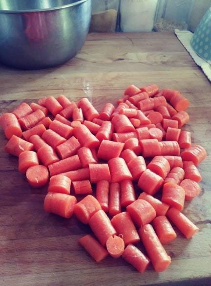 Cut carrots in shape of heart