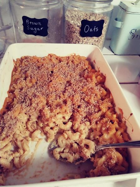 homemade baked vegan mac and cheese