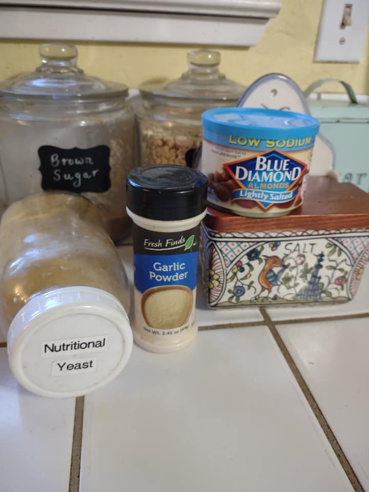 Nutritional yeast, garlic powder, almonds and salt for almond parmesan