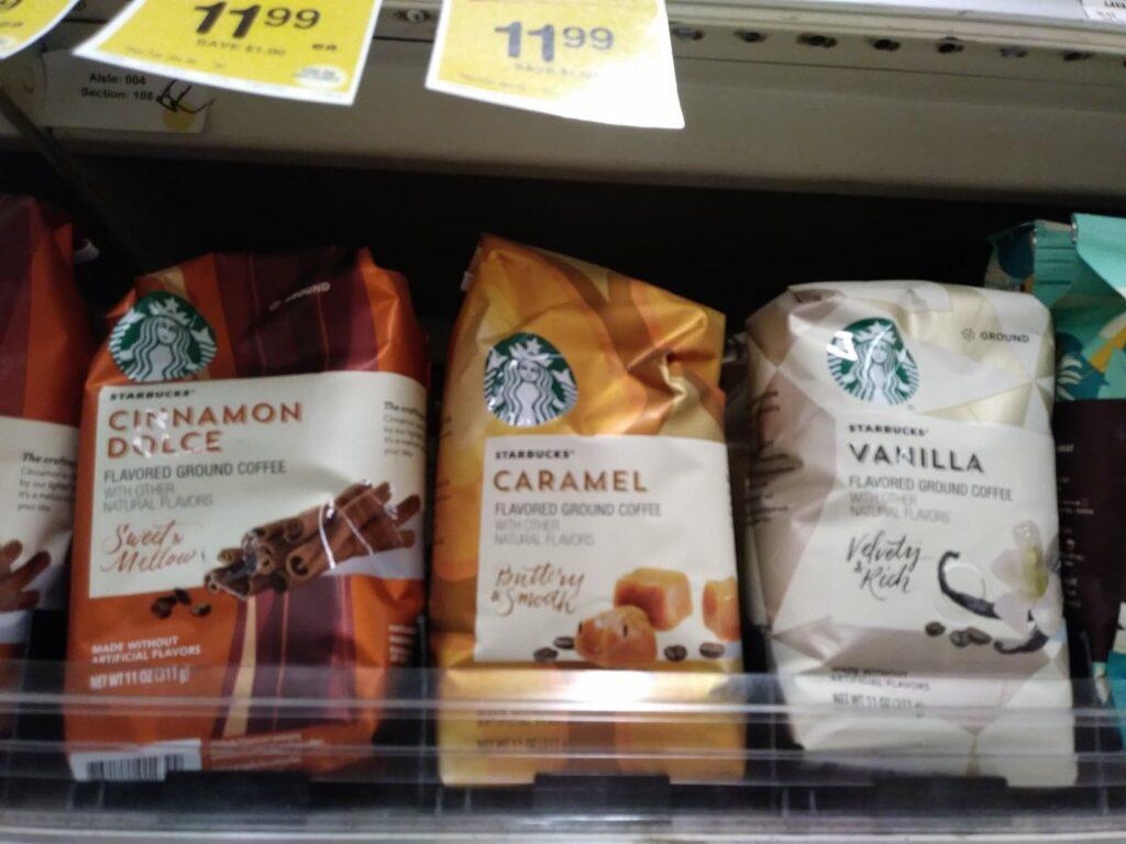 Bags of Starbucks Coffee, caramel, cinnamon dulce and vanilla