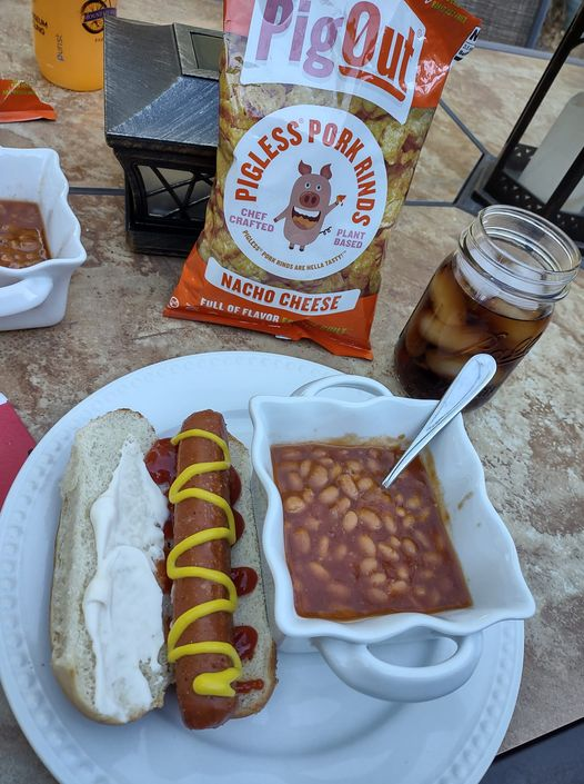 Veggie dogs, baked beans and Pig Out Snacks