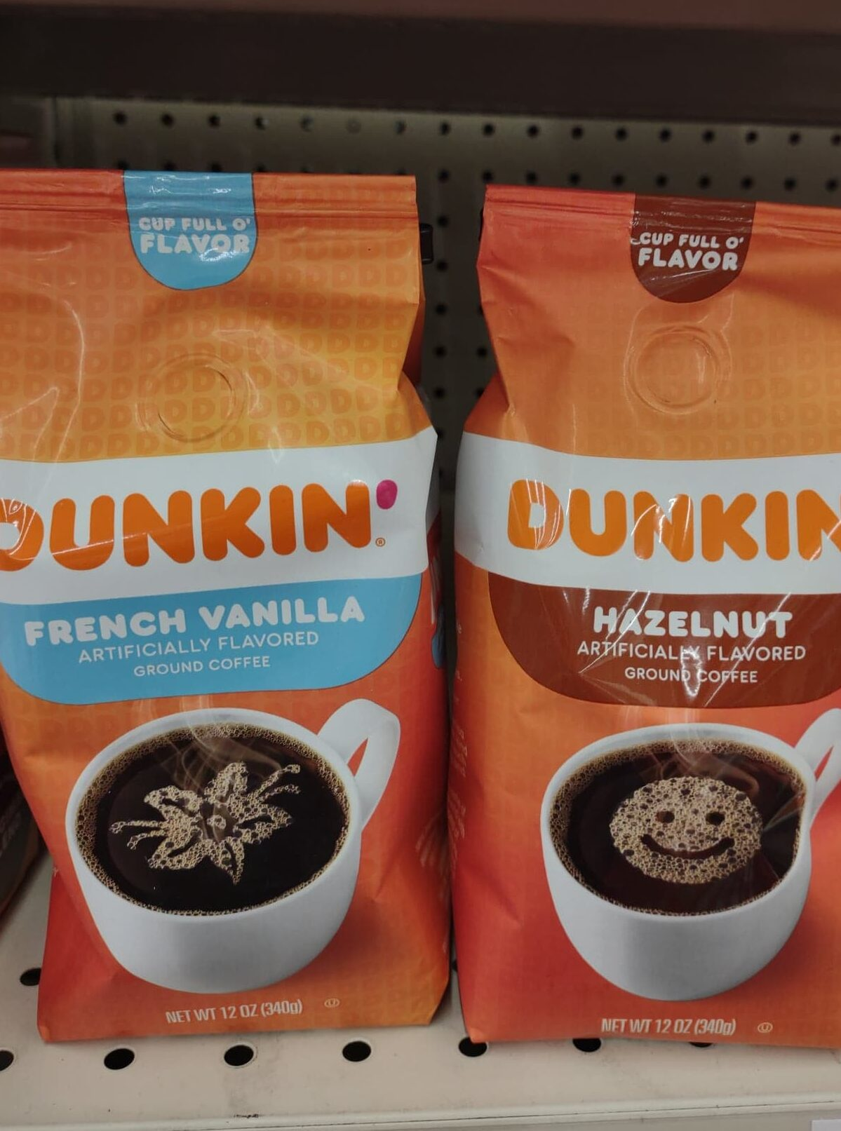 Dunkin' hazelnut and French vanilla coffee bags
